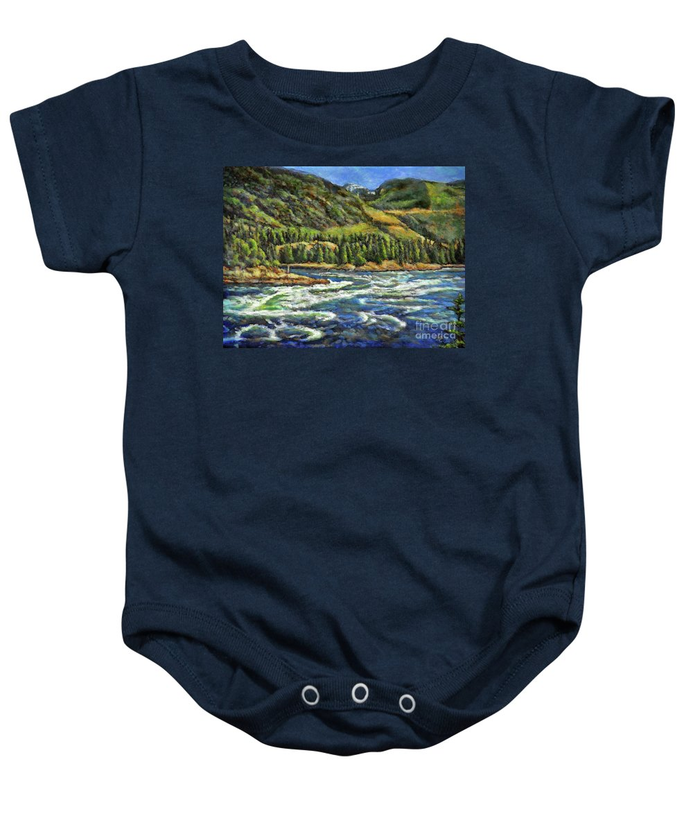 Skookumchuck Narrows Baby Onesie featuring the painting Where Waters Meet 3 by Eileen Fong