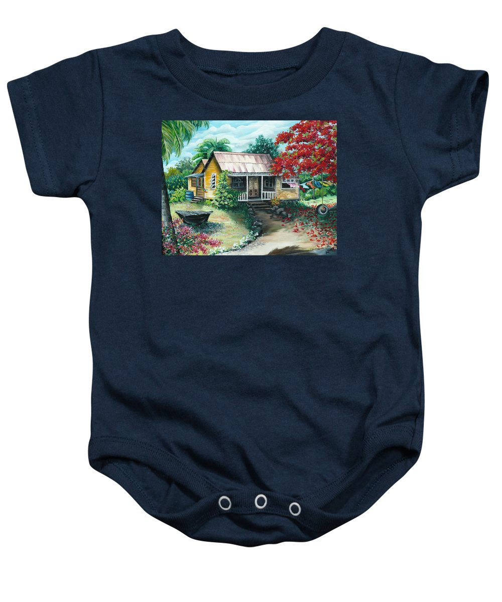 Landscape Painting Caribbean Painting Tropical Painting Island House Painting Poinciana Flamboyant Tree Painting Trinidad And Tobago Painting Baby Onesie featuring the painting Trinidad Life by Karin Dawn Kelshall- Best