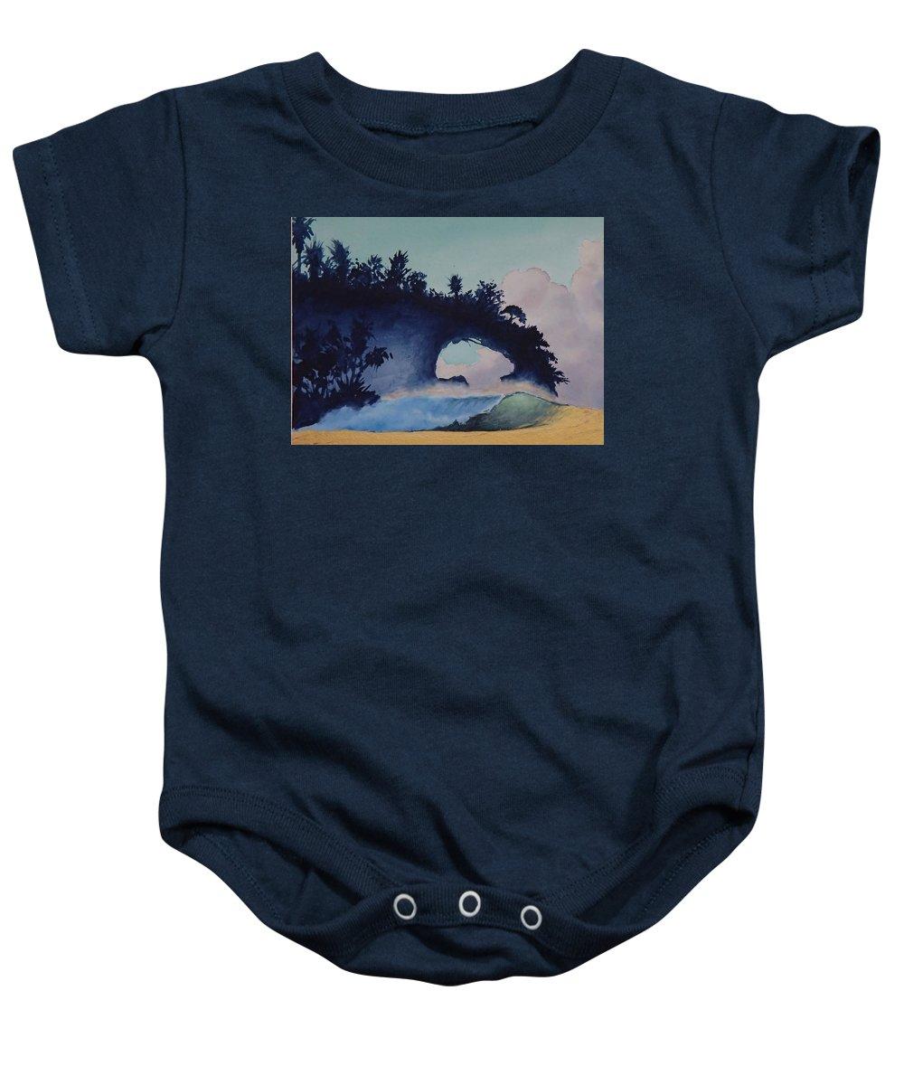 Ocean Baby Onesie featuring the painting Untitled 4 by Philip Fleischer
