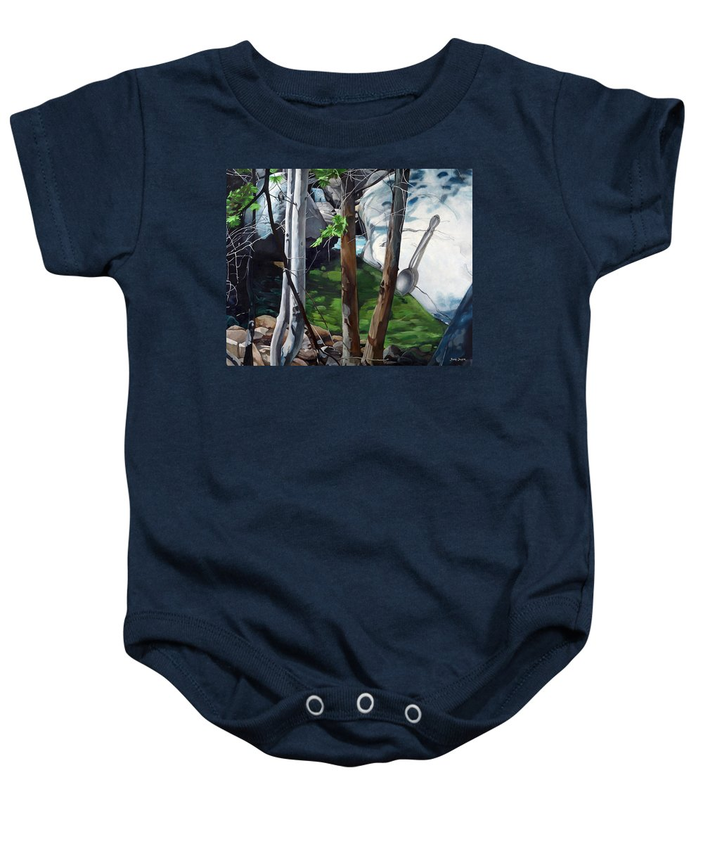 Landscape Baby Onesie featuring the painting A Taste of Nature by Snake Jagger