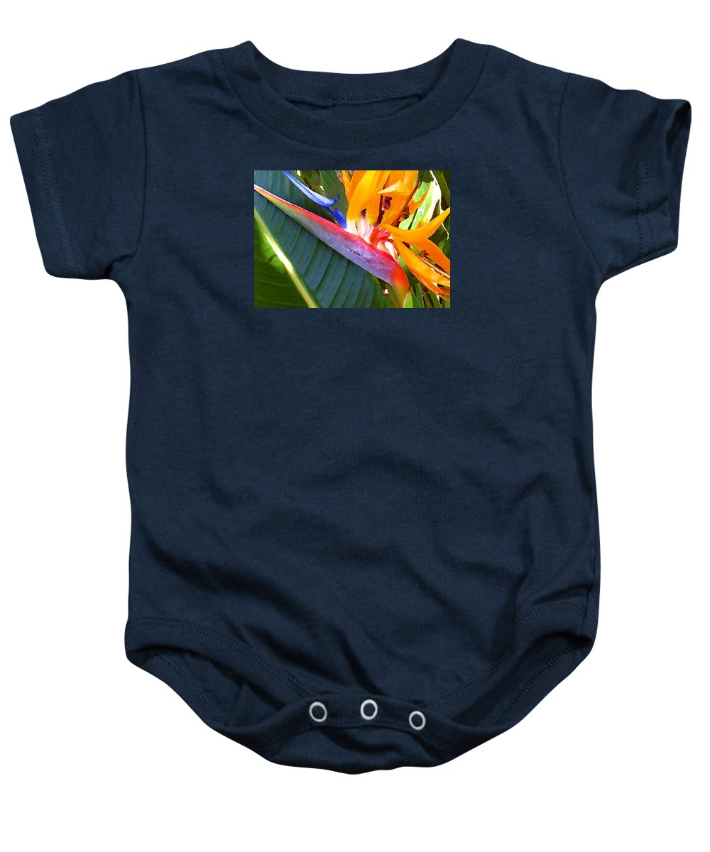 Hawaii Greeting Cards Baby Onesie featuring the photograph Bird of Paradise by James Temple
