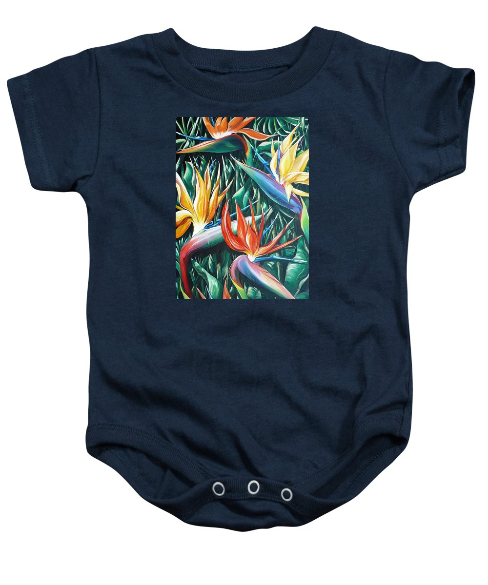 Caribbean Painting Bird Of Paradiseppainting Lily Painting Tropical Musa Painting  . Strelitzer Painting Caribbean Flora Paintingl Flower Red Yellow Painting Greeting Card Painting Baby Onesie featuring the painting Birds Of Paradise Sold  by Karin Dawn Kelshall- Best