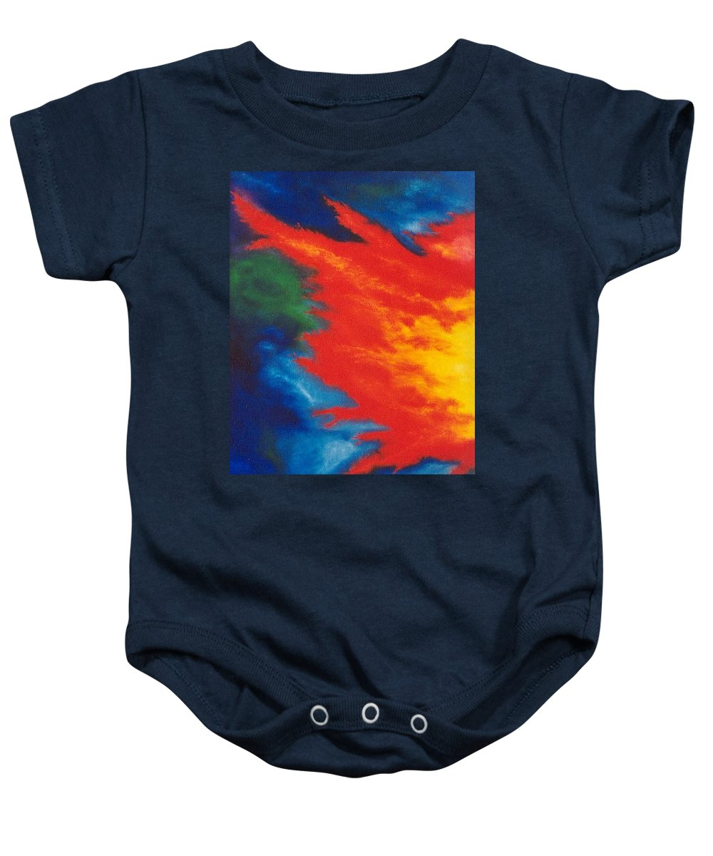 Fire Baby Onesie featuring the painting Blaze by Micah Guenther