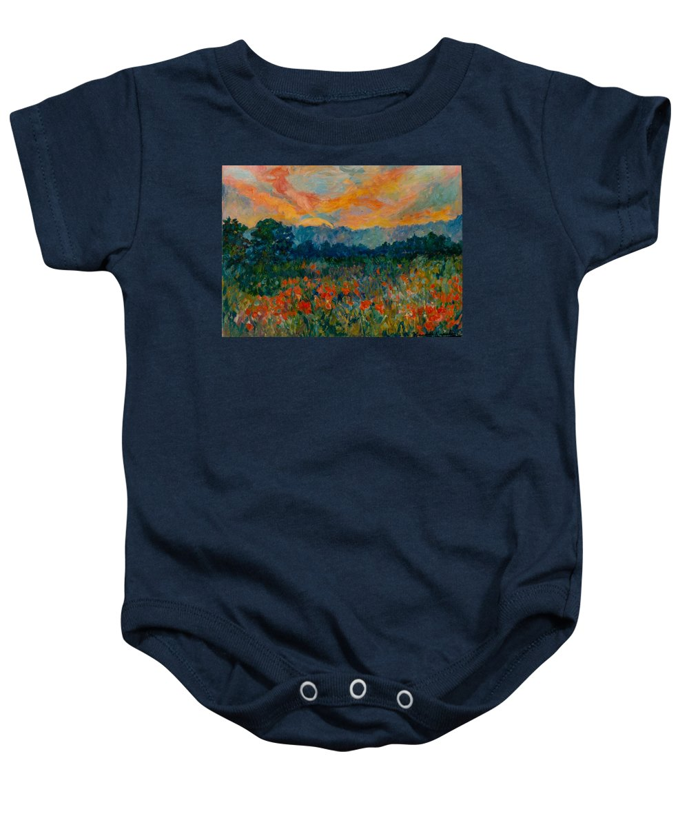 Landscape Baby Onesie featuring the painting Blue Ridge Sunset by Kendall Kessler