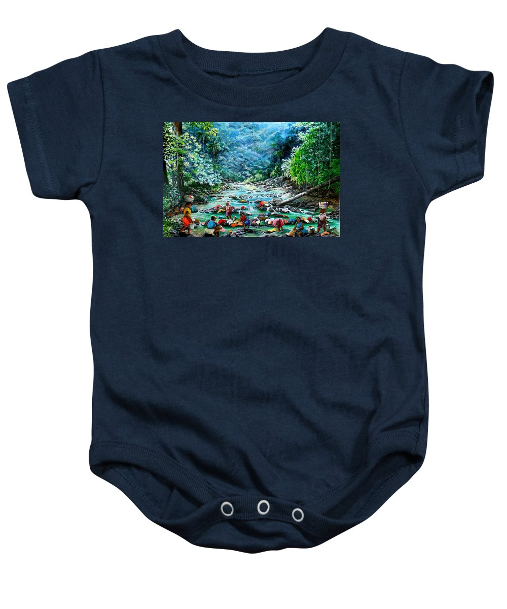 Land Scape Painting River Painting Mountain Painting Rain Forest Painting Washerwomen Painting Laundry Painting Caribbean Painting Tropical Painting Village Washer Women At A Mountain River In Trinidad And Tobago Baby Onesie featuring the painting Caribbean Wash Day by Karin Dawn Kelshall- Best