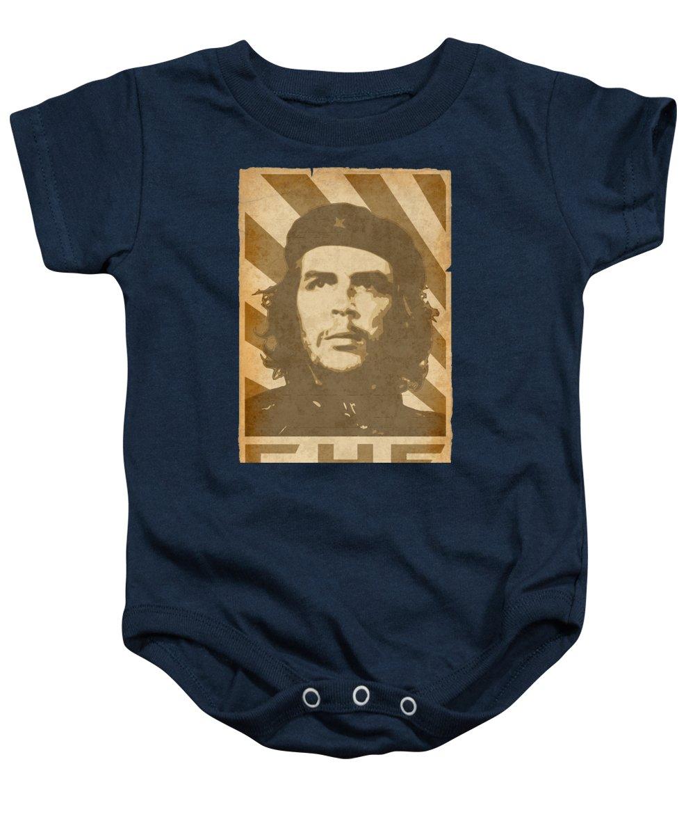 Che Baby Onesie featuring the digital art Che Guevara Retro Propaganda by Filip Schpindel