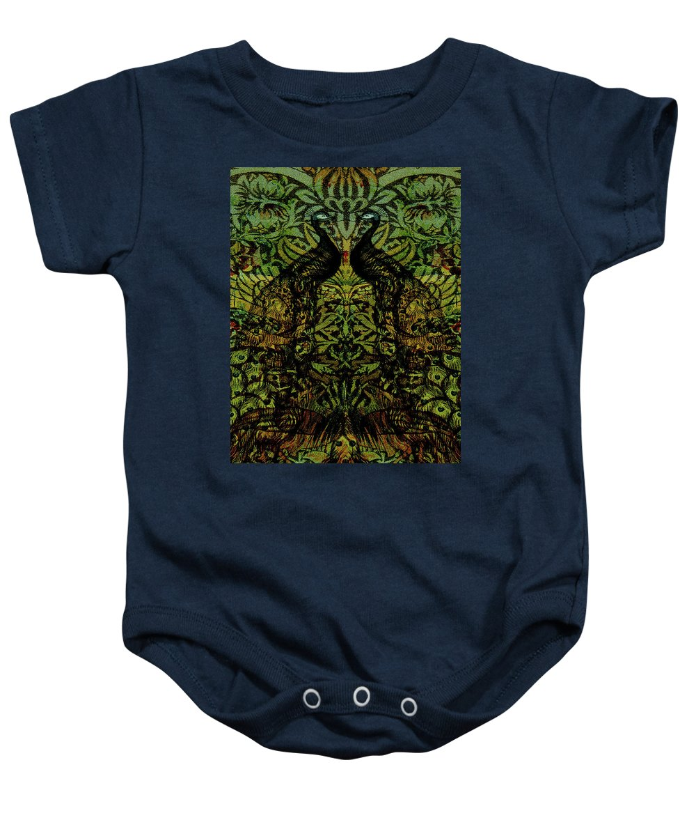 Peafowls Baby Onesie featuring the digital art Indian Blue Peafowl Pattern by Sarah Vernon