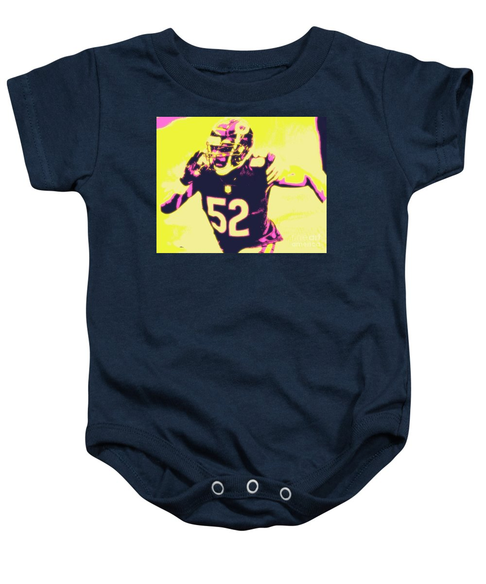 Khalil Baby Onesie featuring the painting Khalil Mack by Jack Bunds
