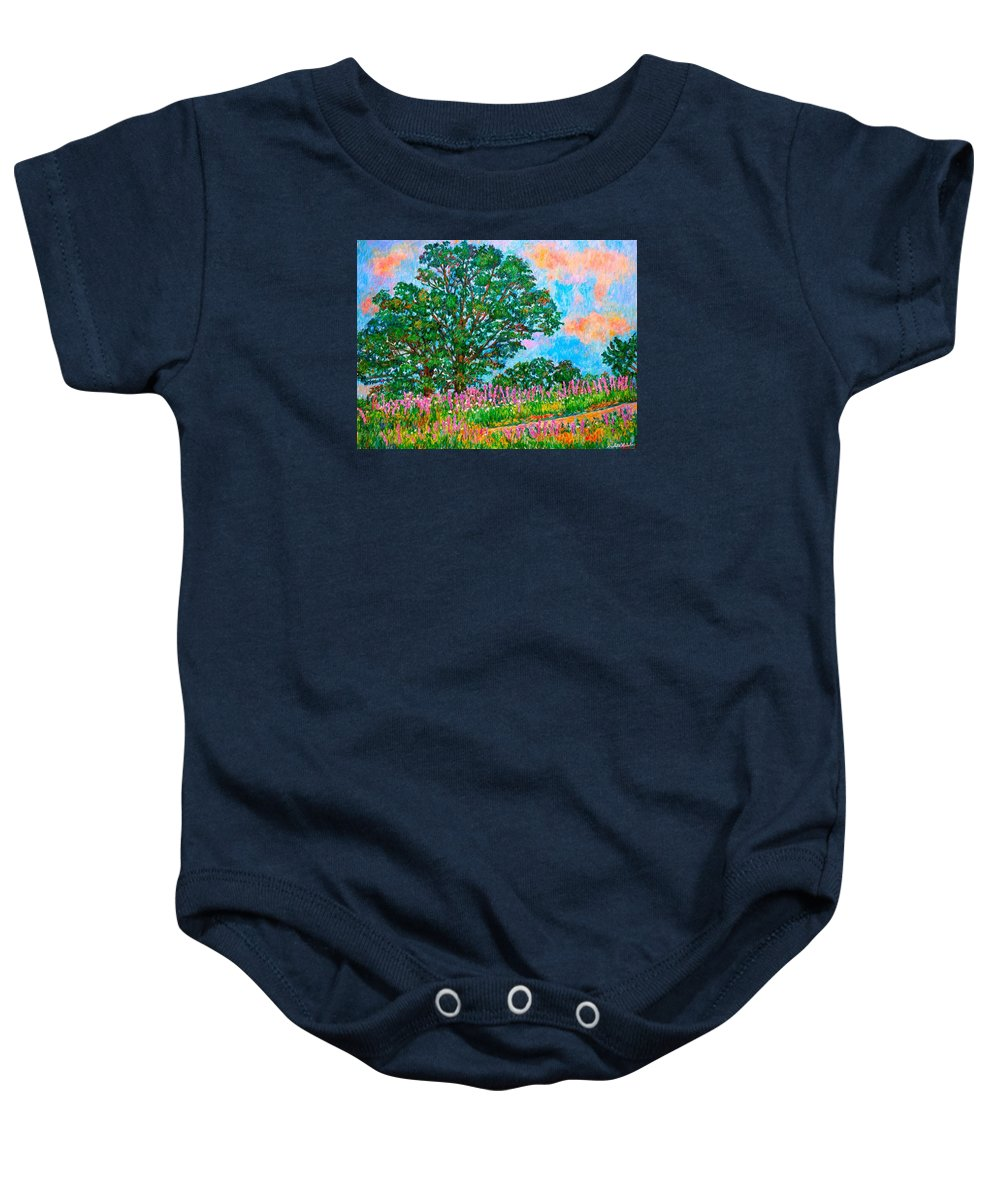 Landscape Baby Onesie featuring the painting Liatris Flowers at Doughton Park by Kendall Kessler