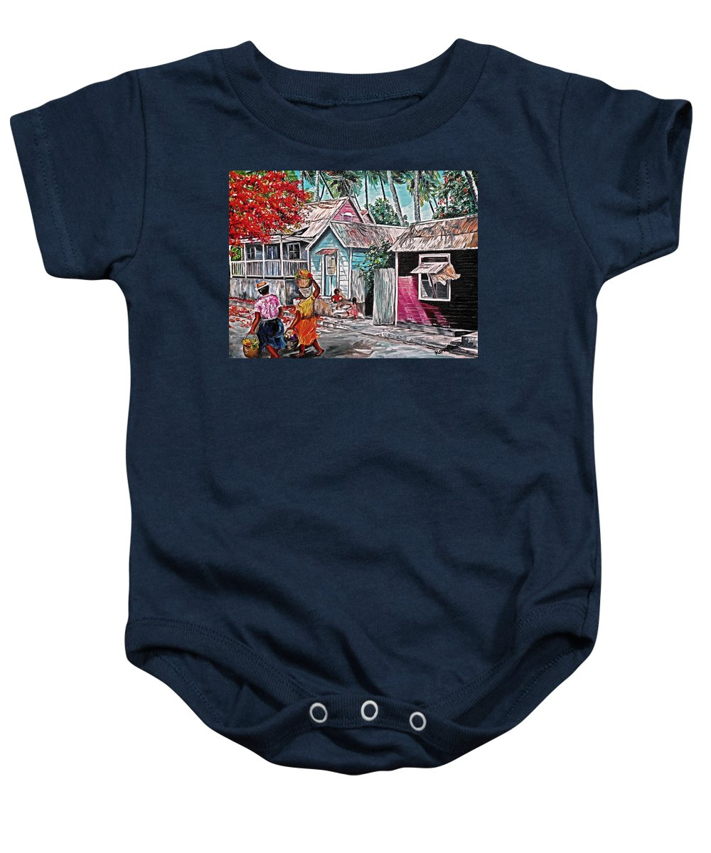 Market Women Painting Barbados Painting Islands Painting  Poinciana Painting Houses Painting Poinciana Painting Caribbean Painting Tropical Painting Baby Onesie featuring the painting Marketday Barbados by Karin Dawn Kelshall- Best