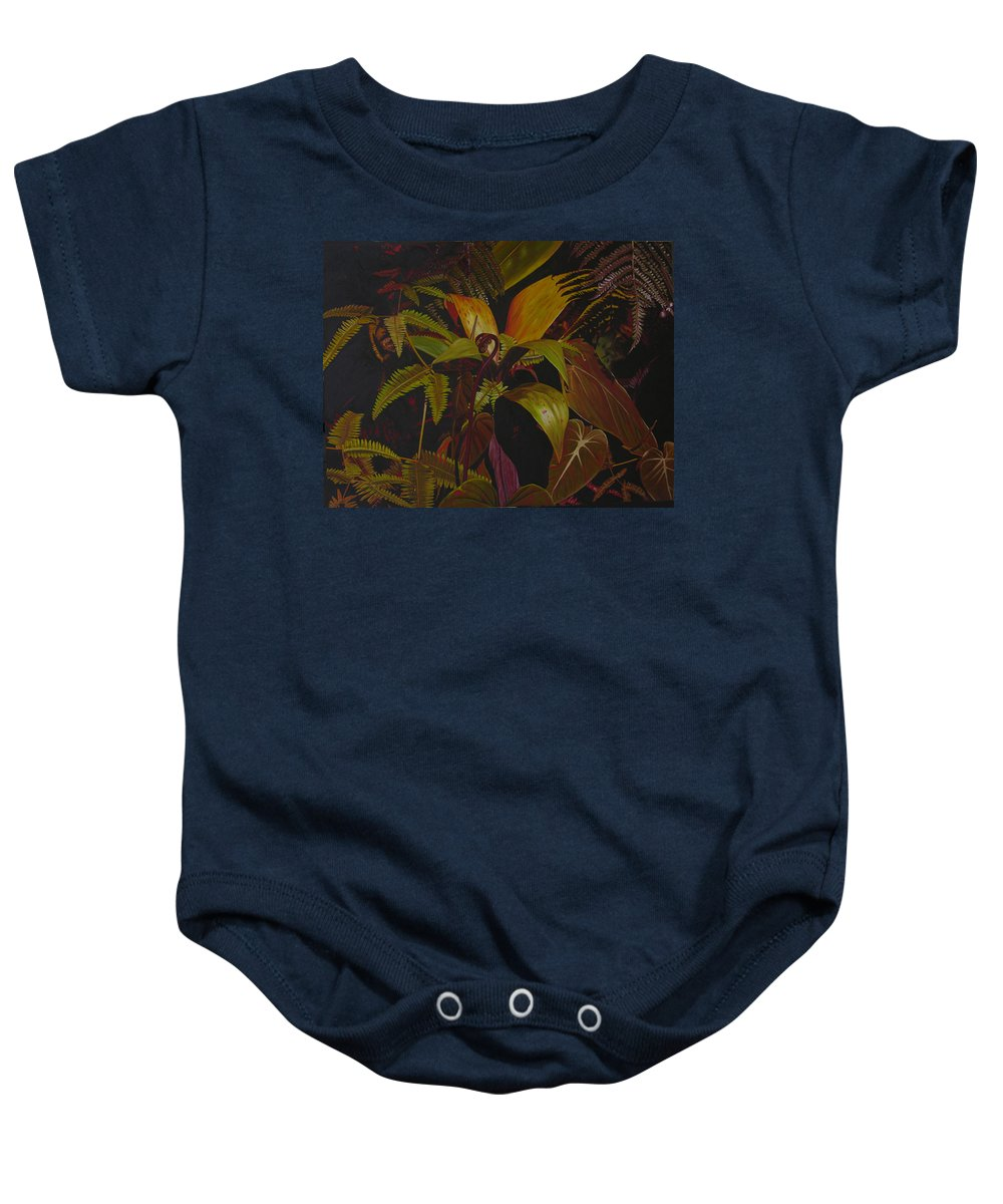 Plant Baby Onesie featuring the painting Midnight in the garden by Thu Nguyen