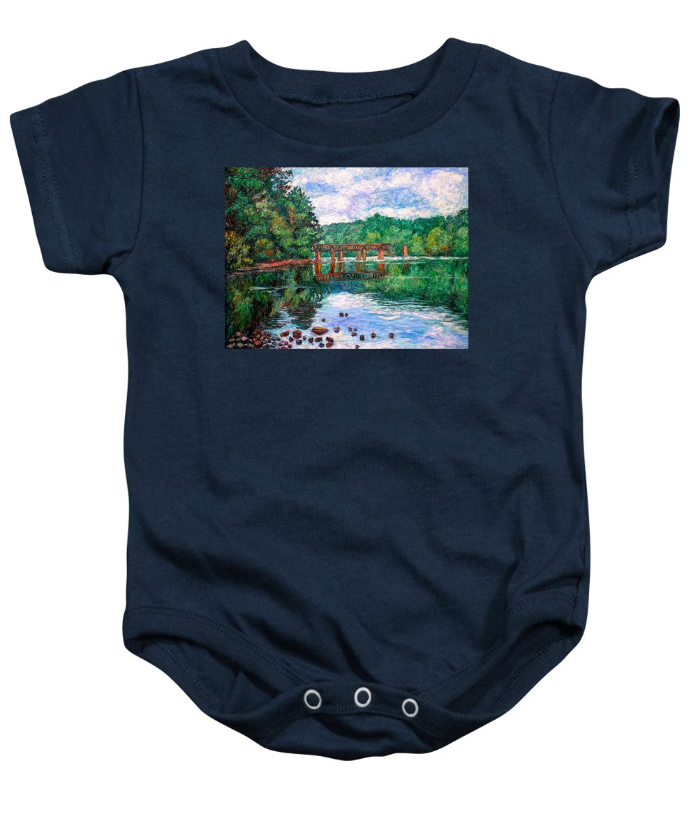 Landscape Baby Onesie featuring the painting New River Trestle by Kendall Kessler