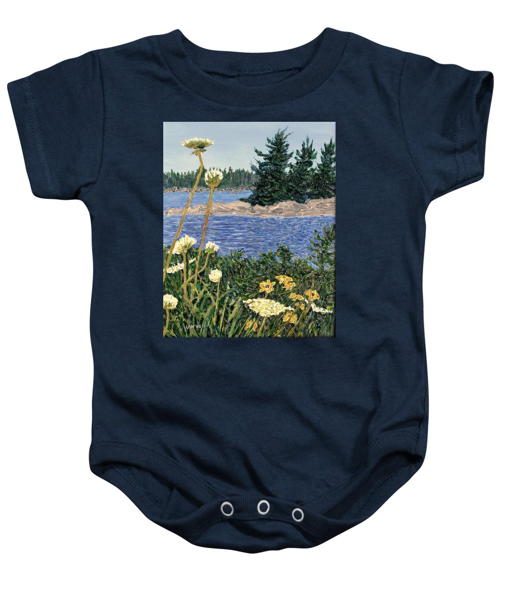 Northern Ontario Baby Onesie featuring the painting North Channel Lake Huron by Ian MacDonald