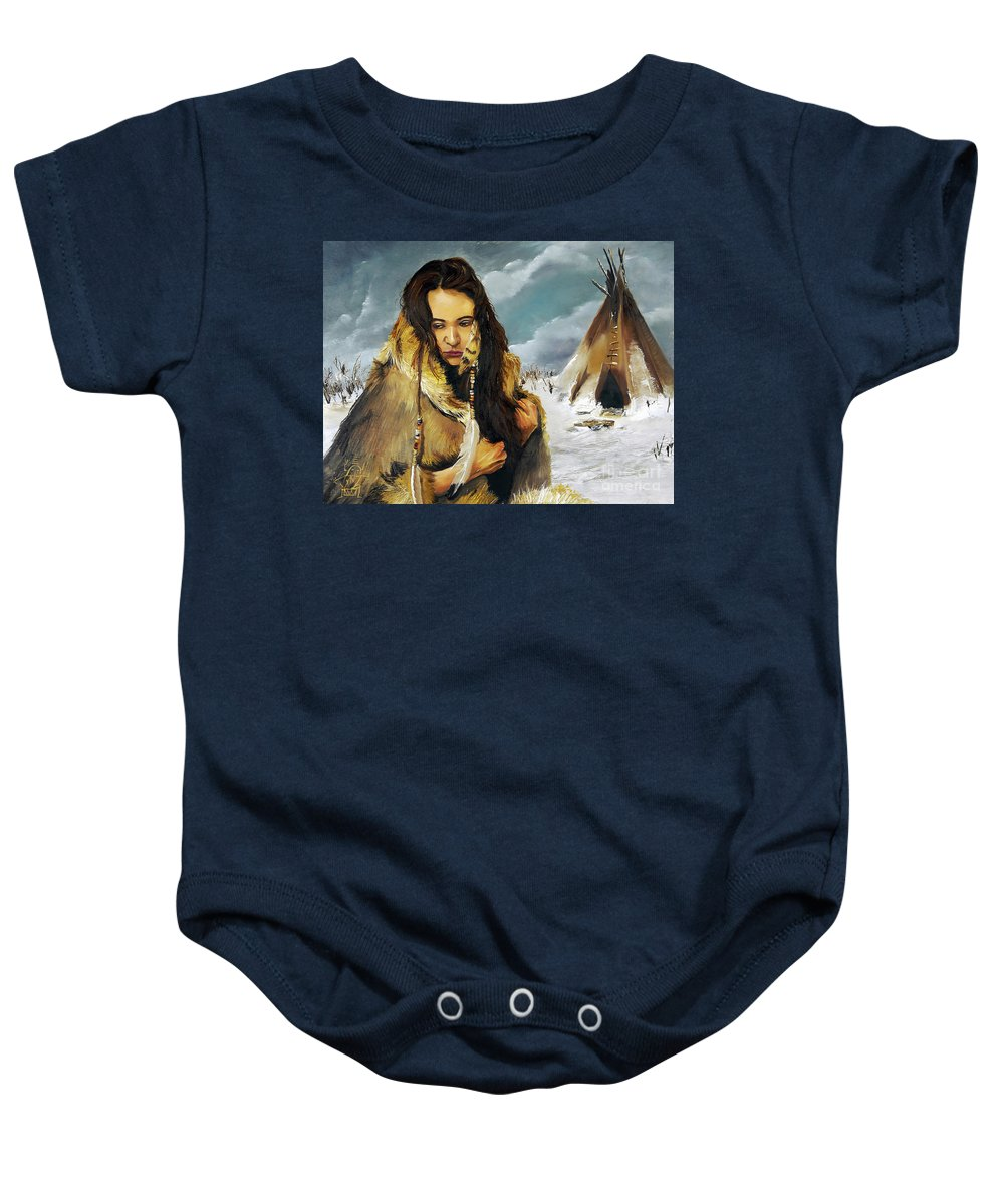 Southwest Art Baby Onesie featuring the painting Solitude by J W Baker