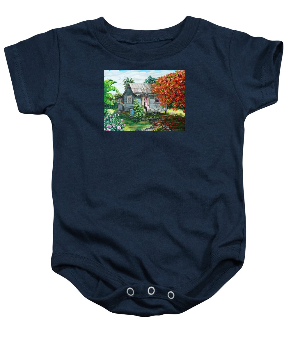 Caribbean Painting Original Painting Trinidad And Tobago ..house Painting Flamboyant Tree Painting Red Blossoms Painting Floral Painting Tree Painting Tropical Painting Baby Onesie featuring the painting Sweet Tobago Life. 2 by Karin Dawn Kelshall- Best