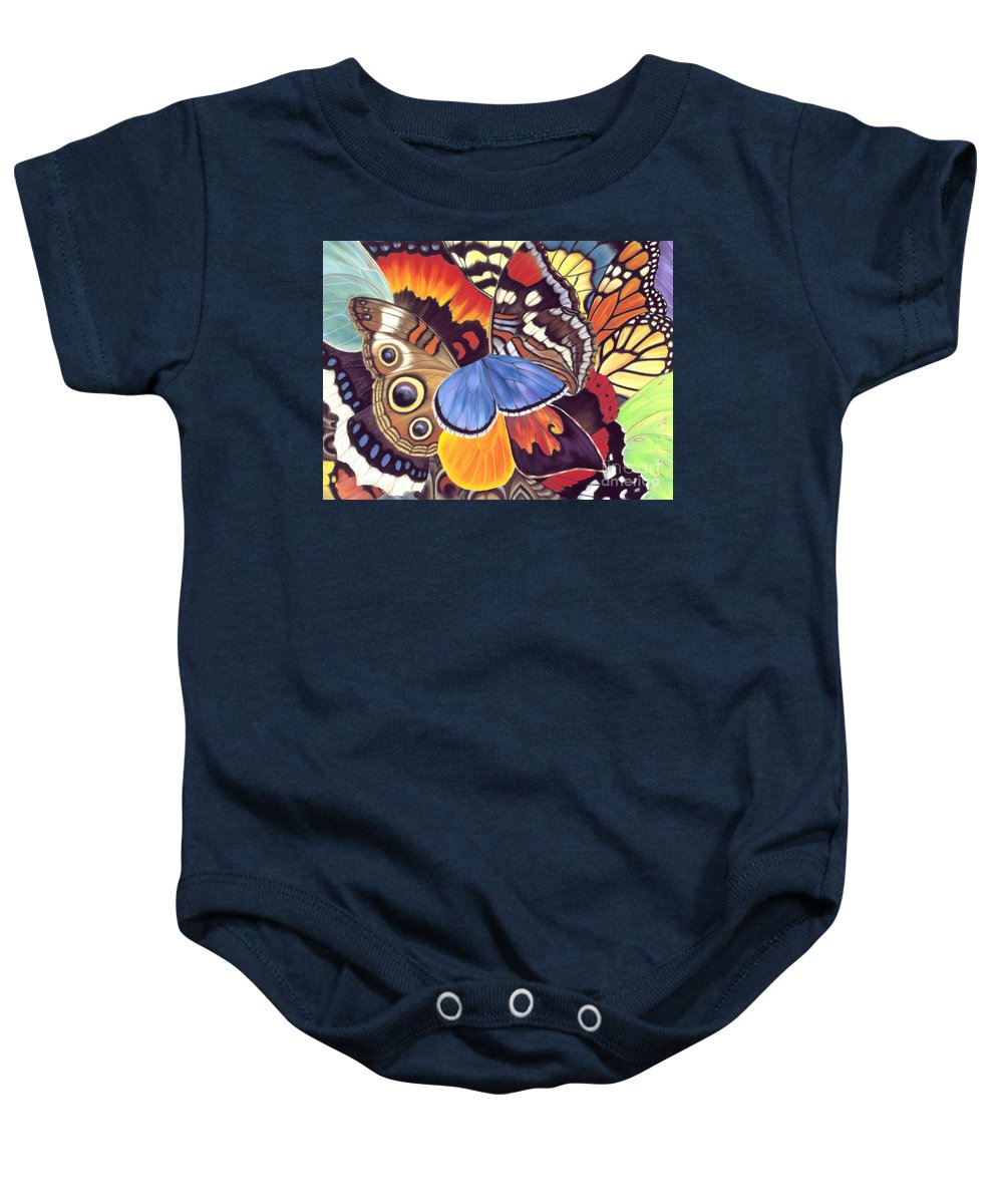 Butterflies Baby Onesie featuring the painting Wings Of California by Lucy Arnold