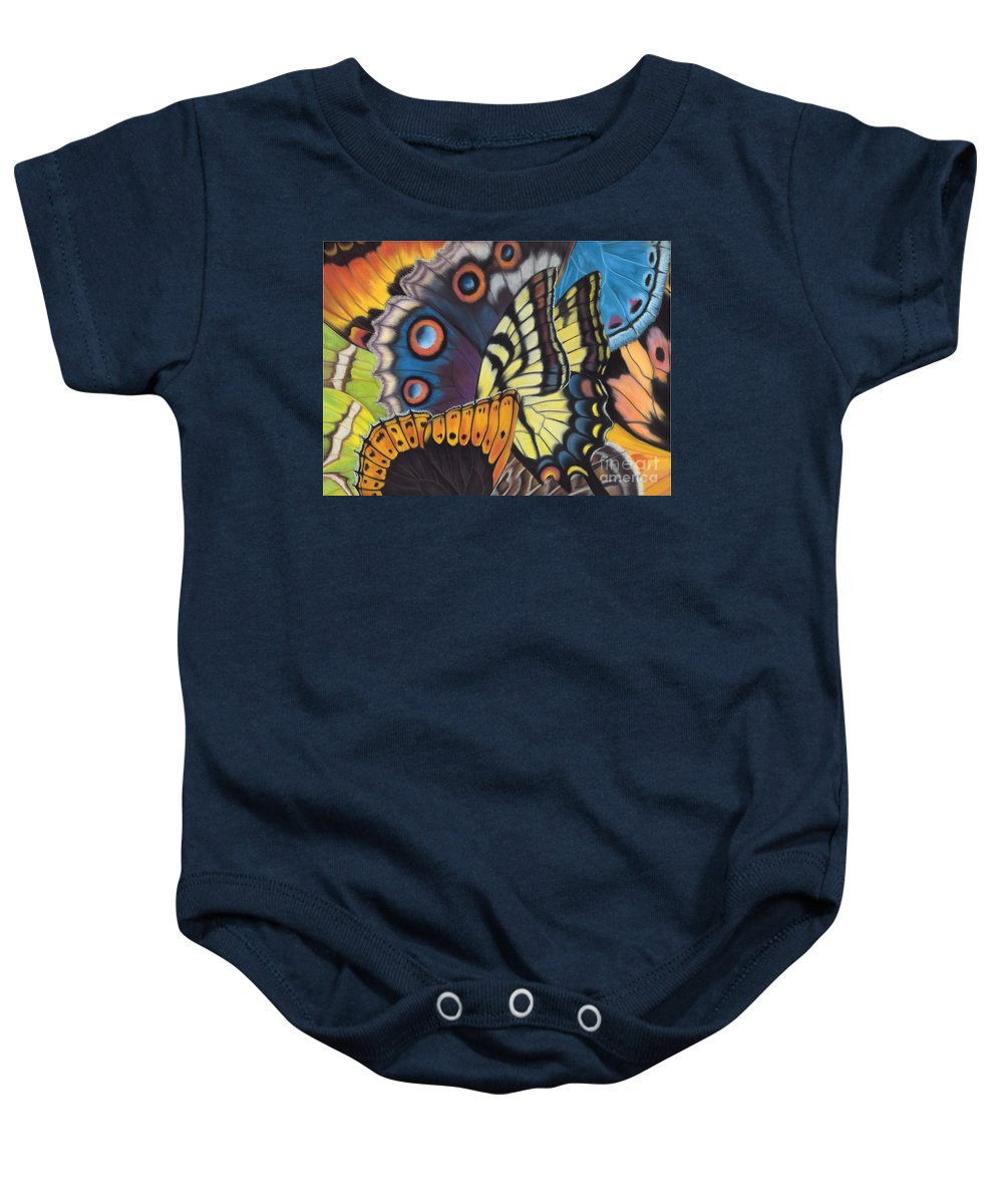 Butterflies Baby Onesie featuring the painting Wings of North Amerca by Lucy Arnold