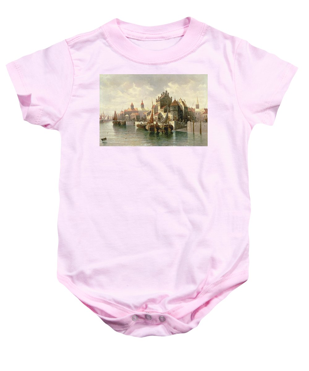 Barges Baby Onesie featuring the painting Kieler Canal by August Siegen
