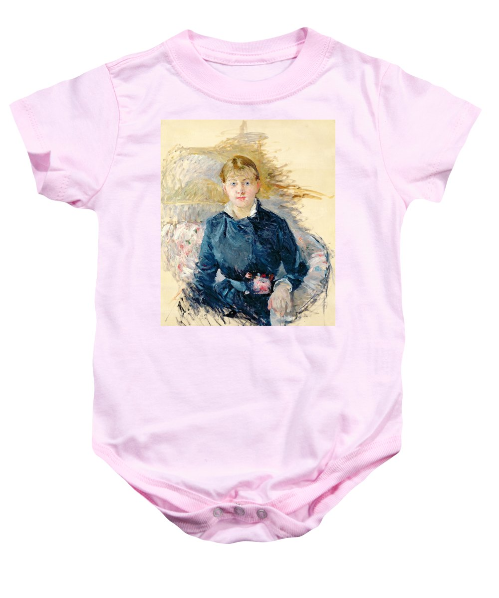Female; Seated; Impressionist; Berthe Morisot Baby Onesie featuring the painting Portrait Of Louise Riesener by Berthe Morisot