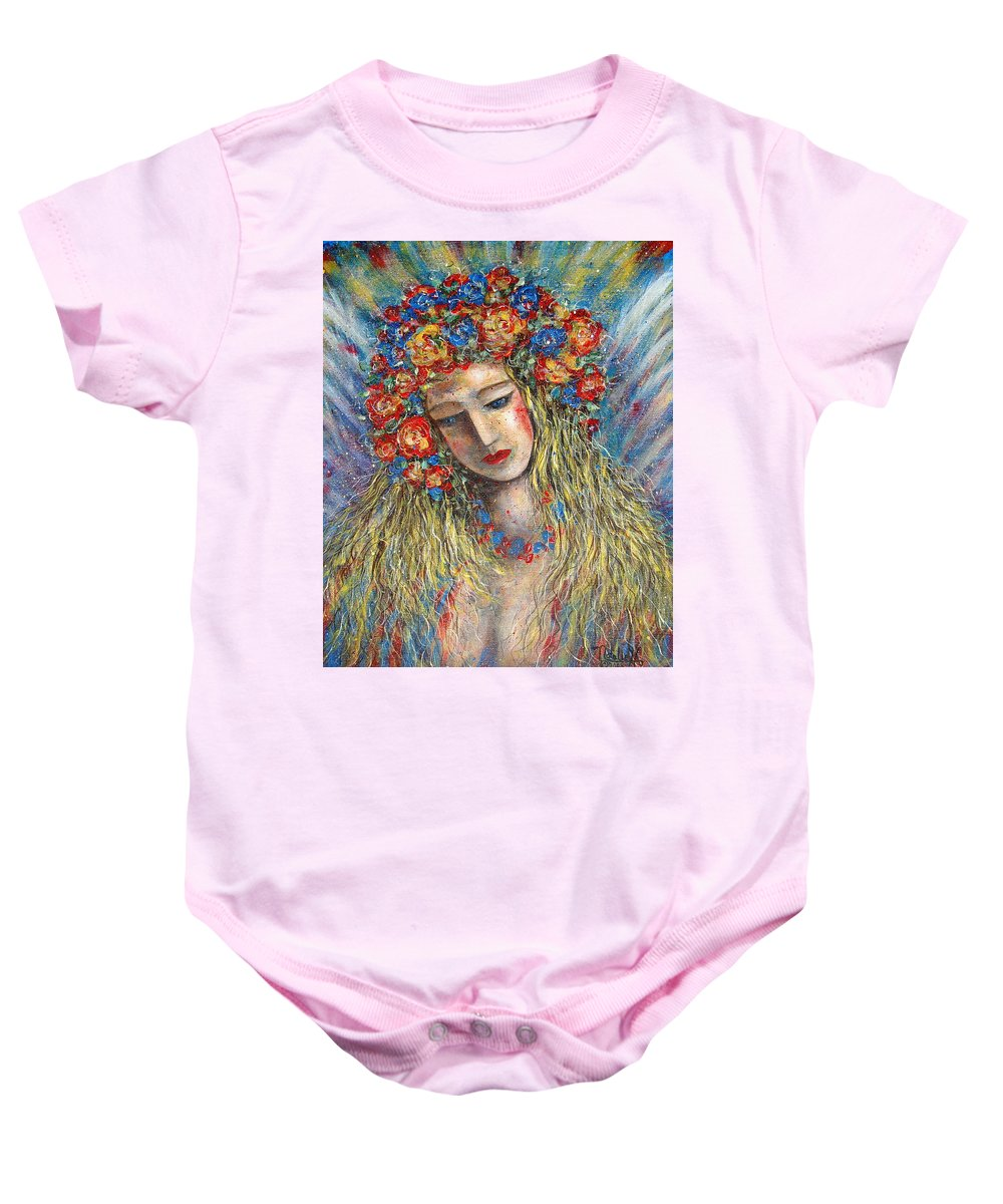 Painting Baby Onesie featuring the painting The Loving Angel by Natalie Holland