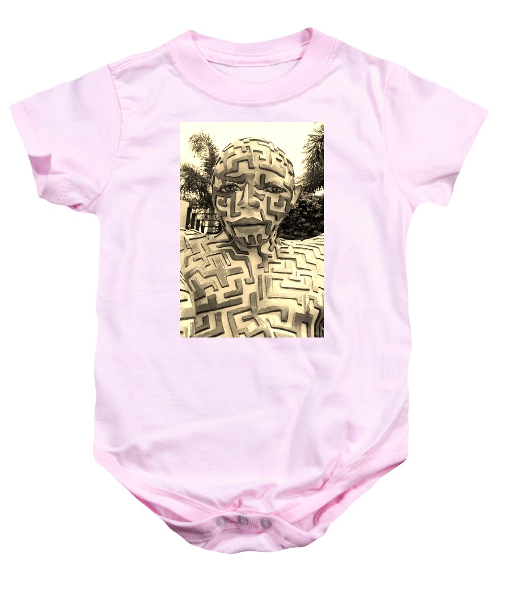 Maze Baby Onesie featuring the photograph 1 A Maze Ing Man Sepia by Rob Hans