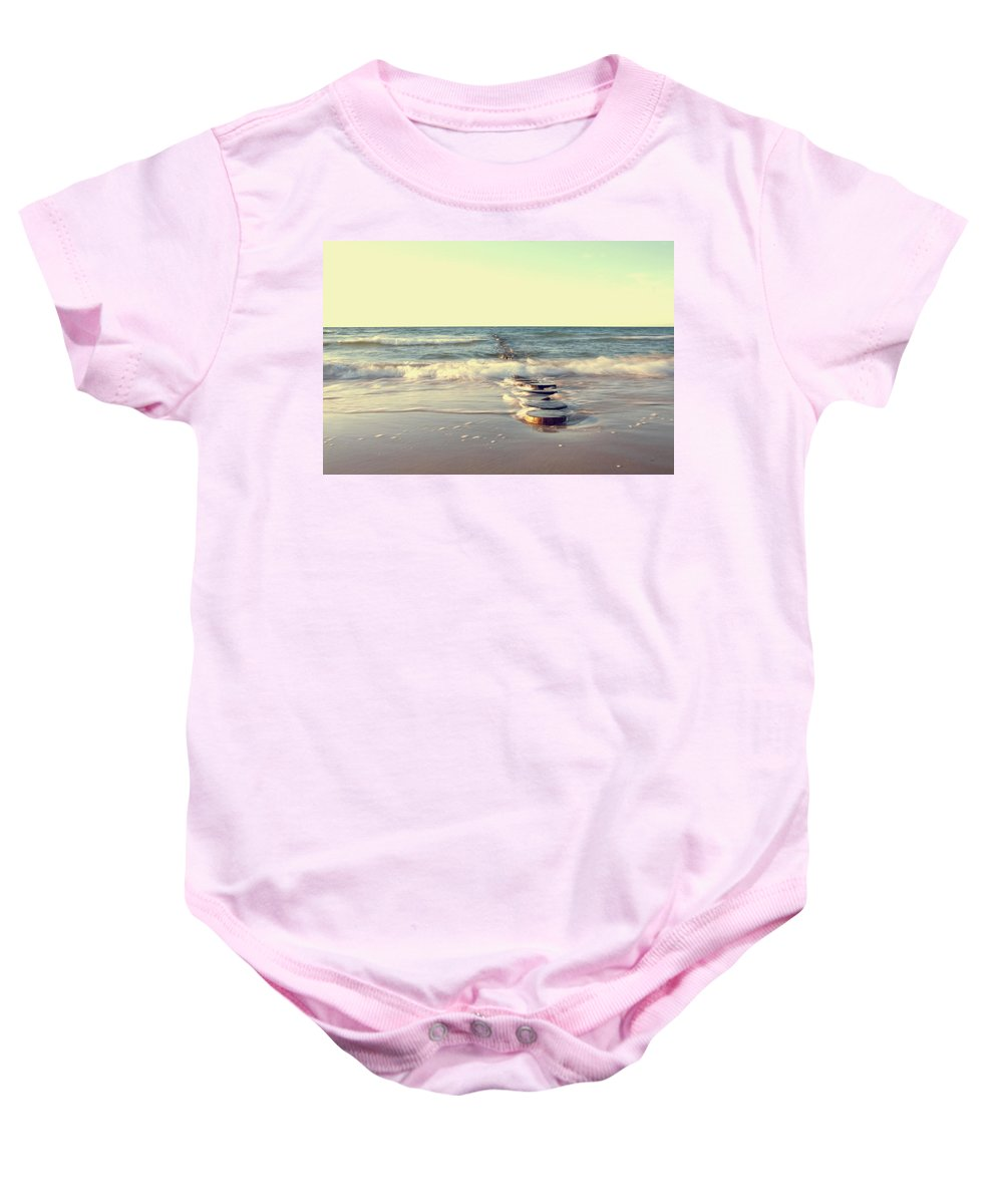 Ostsee Baby Onesie featuring the pyrography Beach by Steffen Gierok