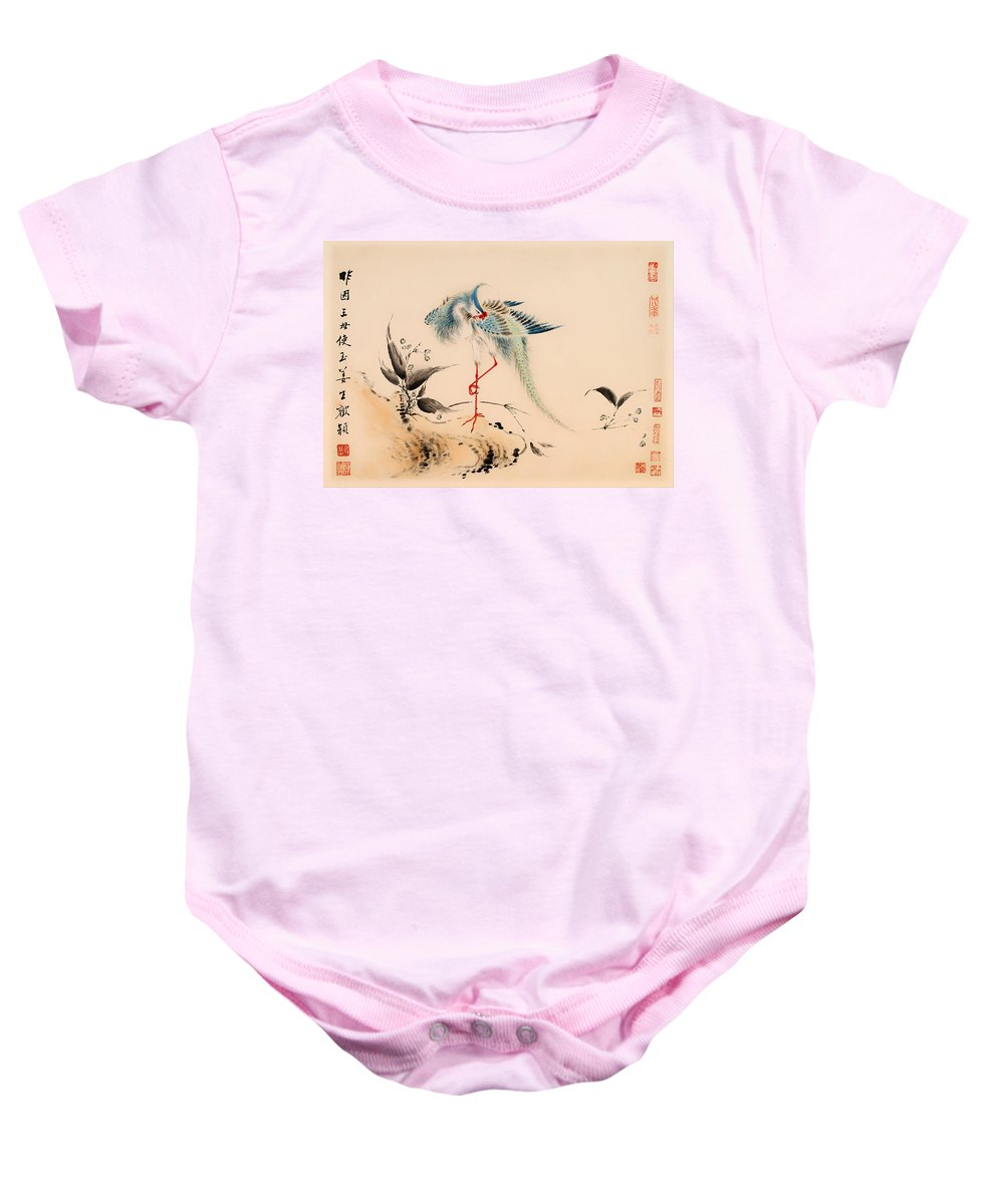 Painting Baby Onesie featuring the painting Birds And Flowers by Mountain Dreams