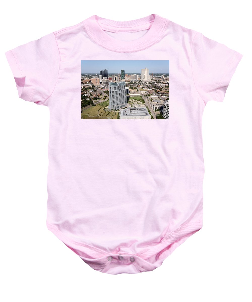 Fort Worth Baby Onesie featuring the photograph Downtown Fort Worth Skyline by Bill Cobb