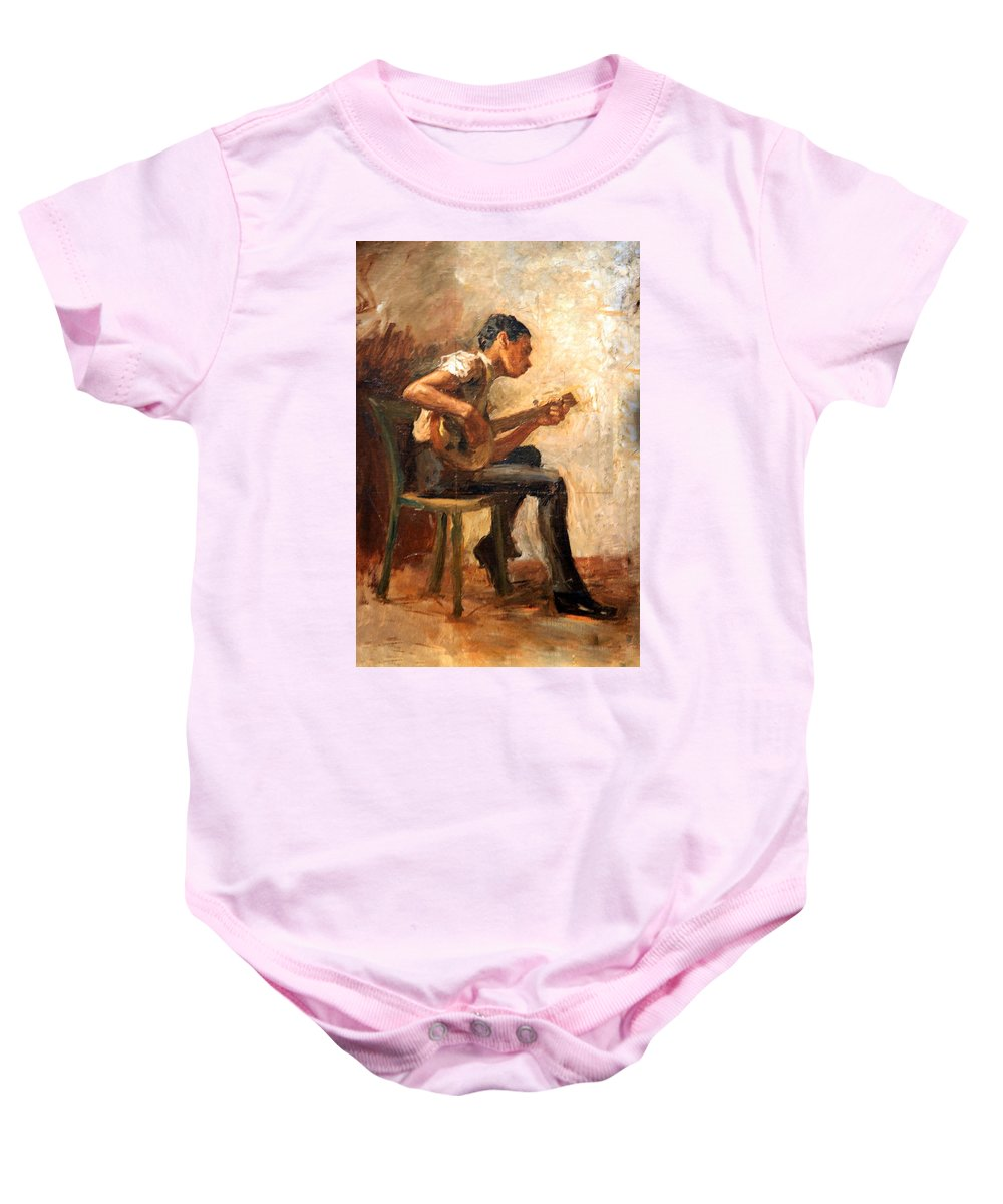 Study For Negro Boy Dancing Baby Onesie featuring the photograph Eakins' Study For Negro Boy Dancing -- The Banjo Player by Cora Wandel