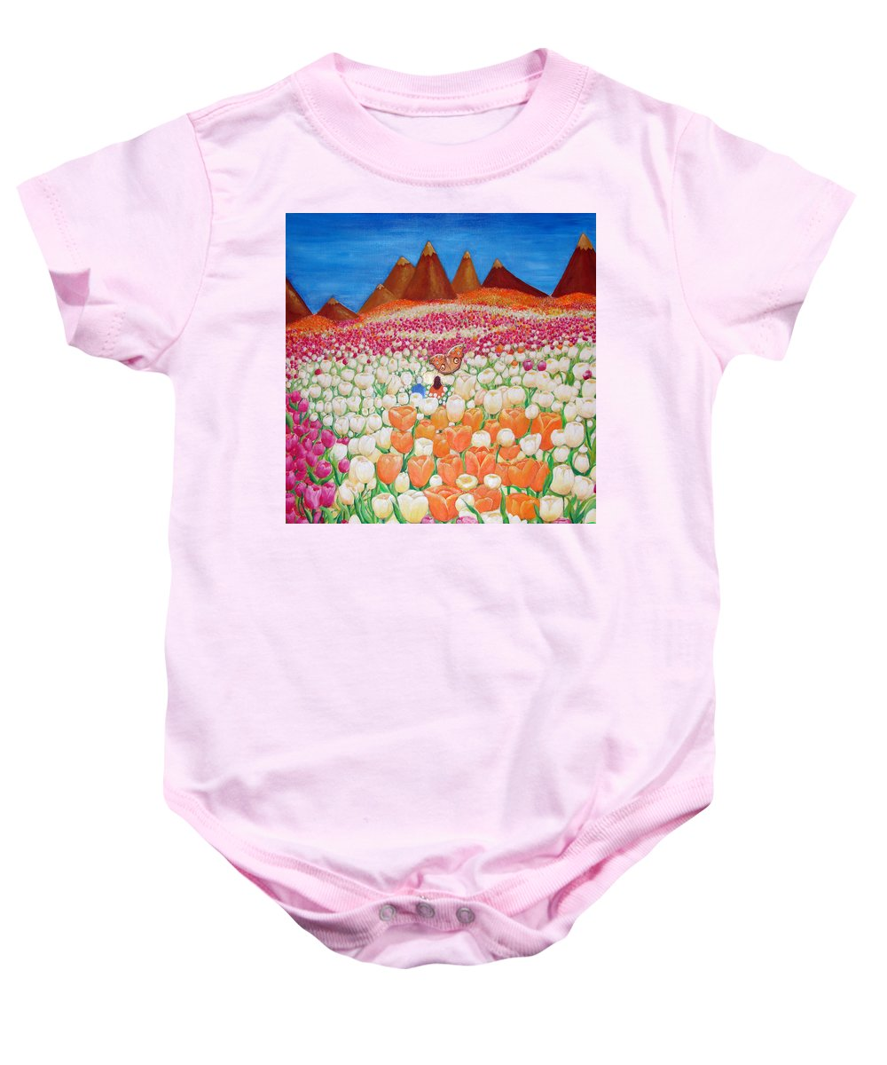 Tulips Baby Onesie featuring the painting Flowers And Fields Alive With Thy Joy by Ashleigh Dyan Bayer