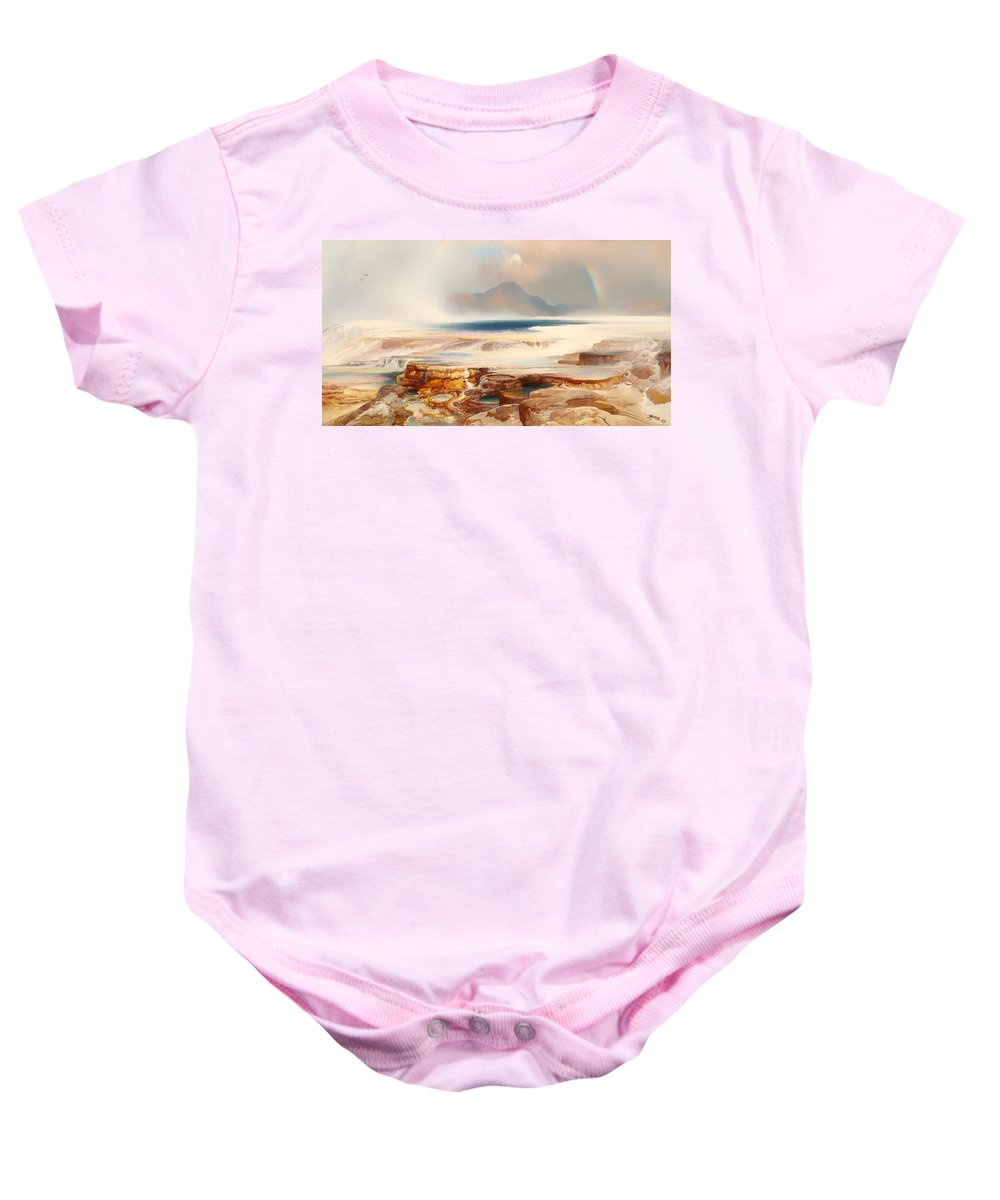 Painting Baby Onesie featuring the painting Hot Springs Of Yellowstone by Mountain Dreams
