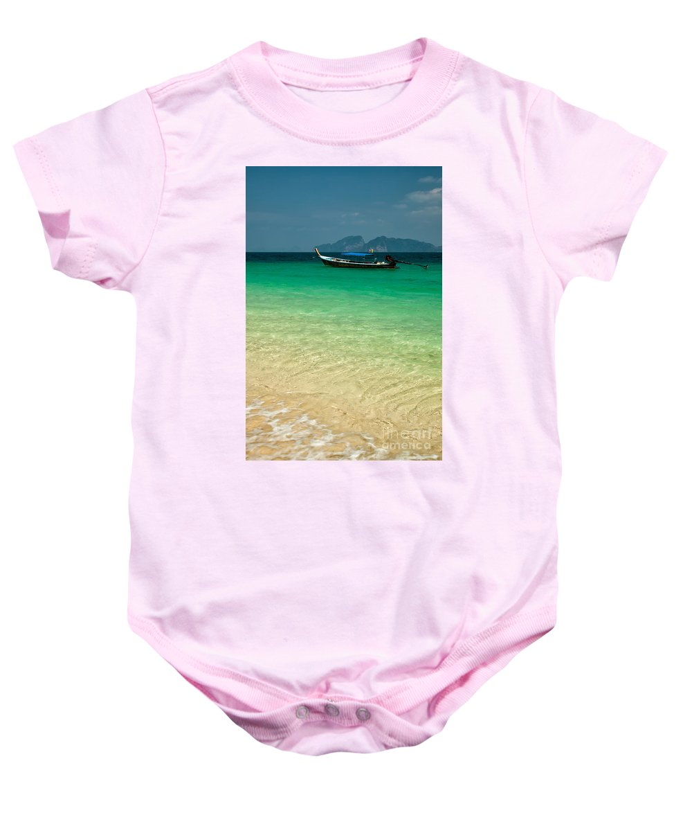 Longboat Baby Onesie featuring the photograph Longboat Asia by Adrian Evans