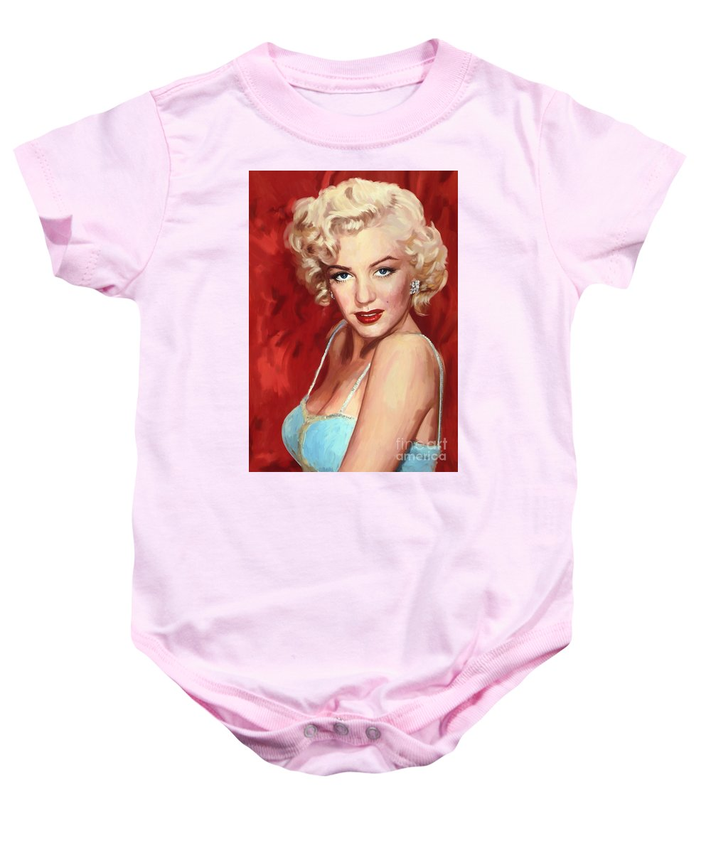 Marilyn Monroe Baby Onesie featuring the painting Marilyn Monroe by Tim Gilliland