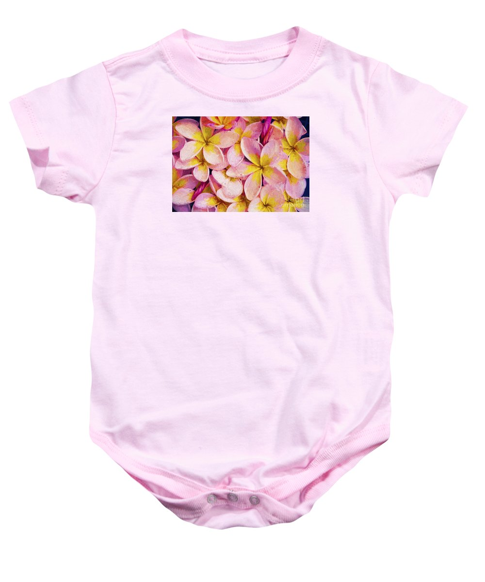 Frangipani Baby Onesie featuring the photograph Pink frangipani by Sheila Smart Fine Art Photography