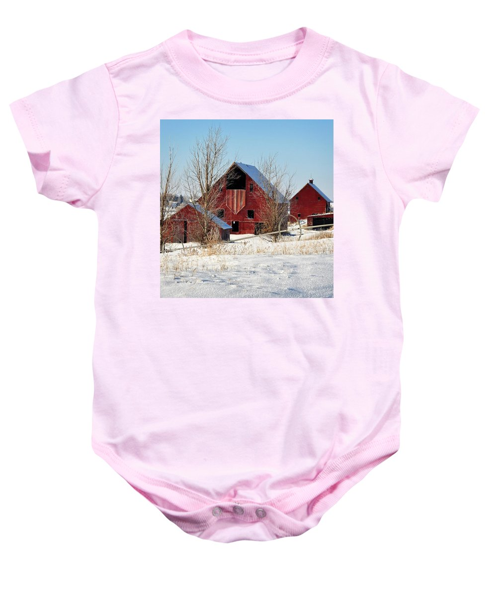 Idaho Falls Baby Onesie featuring the photograph Snow Day by Image Takers Photography LLC - Laura Morgan
