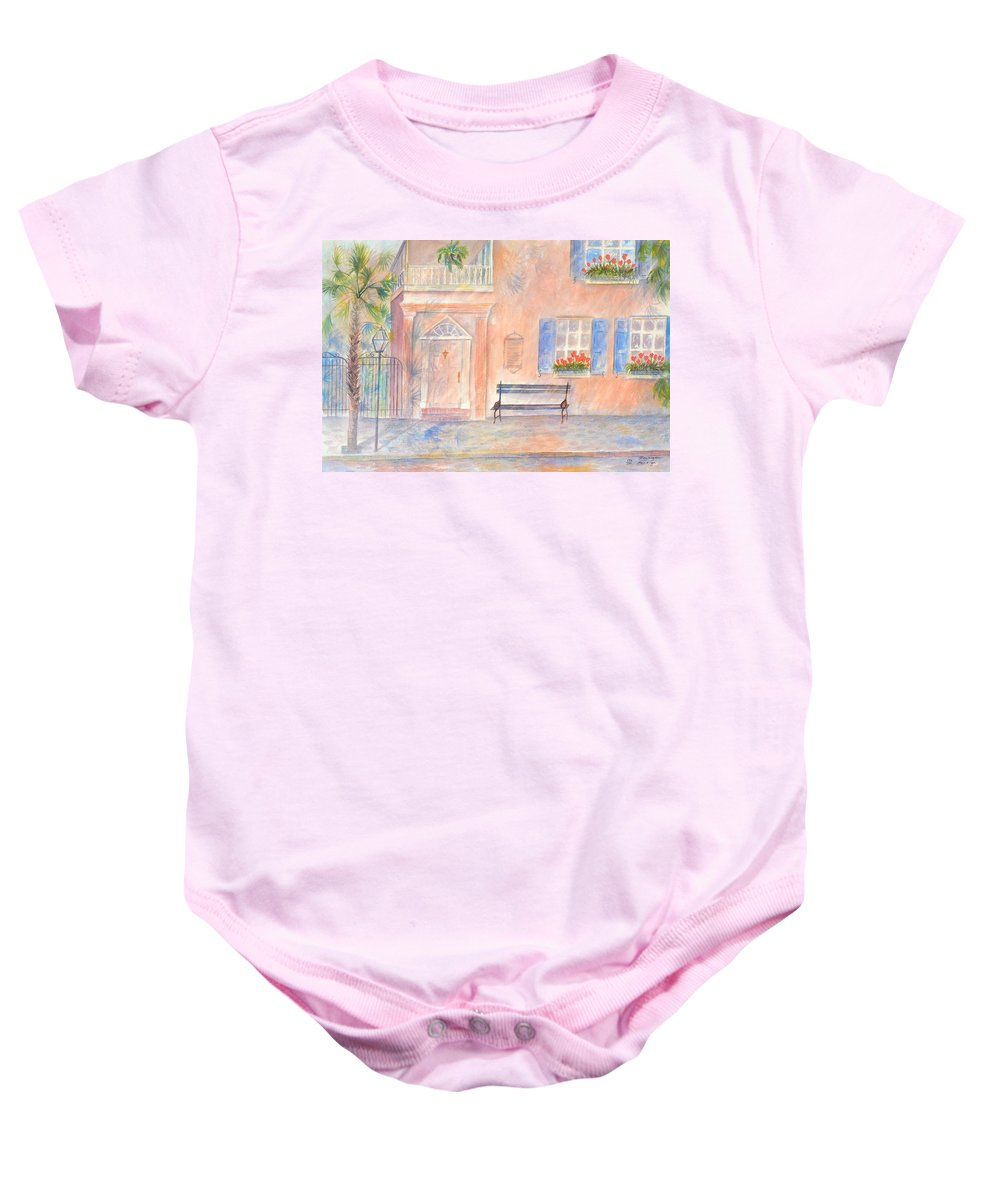 Charleston Baby Onesie featuring the painting Sunday Morning in Charleston by Ben Kiger
