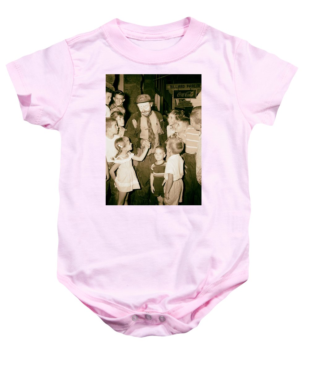 Emmett Kelly Baby Onesie featuring the photograph The Famous Clown Emmett Kelly 1956 by Mountain Dreams