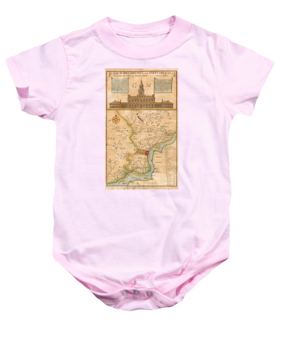 This Rare Map Is An 1850 Reprint Of An Important 1752 Map Originally Issued By N. Scull And G. Heap. George Heap Baby Onesie featuring the photograph 1752 Scull Heap Map Of Philadelphia And Environs by Paul Fearn