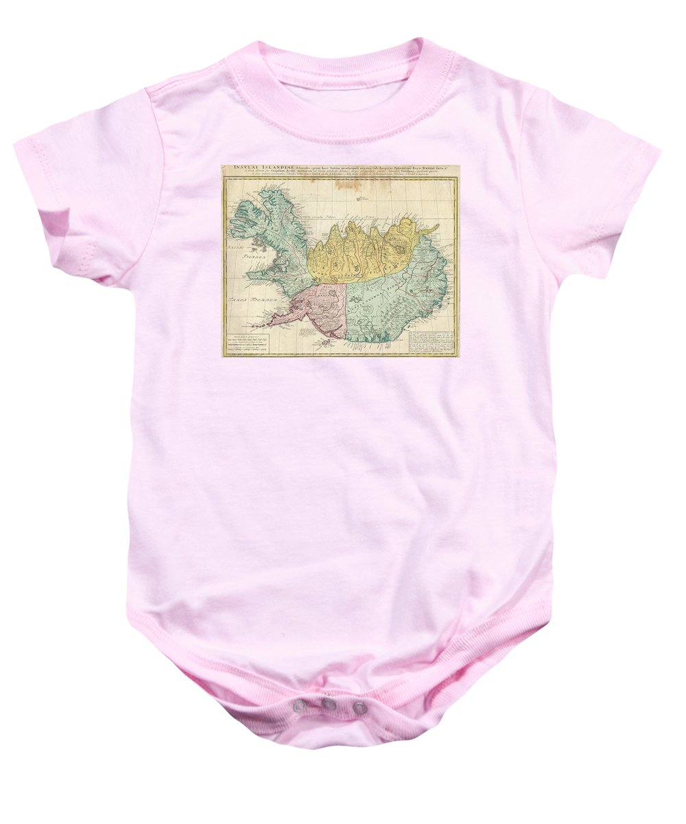 This Is A Rare And Spectacular 1761 Homann Heirs Map Depicting Iceland. Fine Map Of This Region Compiled According To Danish Surveys. Lovers Of Icelandic Sagas Will Recognize Many Of The Towns And Cities Noted. Baby Onesie featuring the photograph 1761 Homann Heirs Map Of Iceland by Paul Fearn