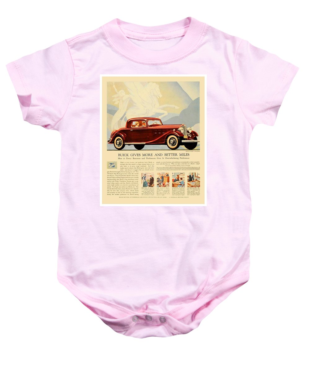 Buick Baby Onesie featuring the digital art 1933 - Buick Coupe Advertisement - Color by John Madison