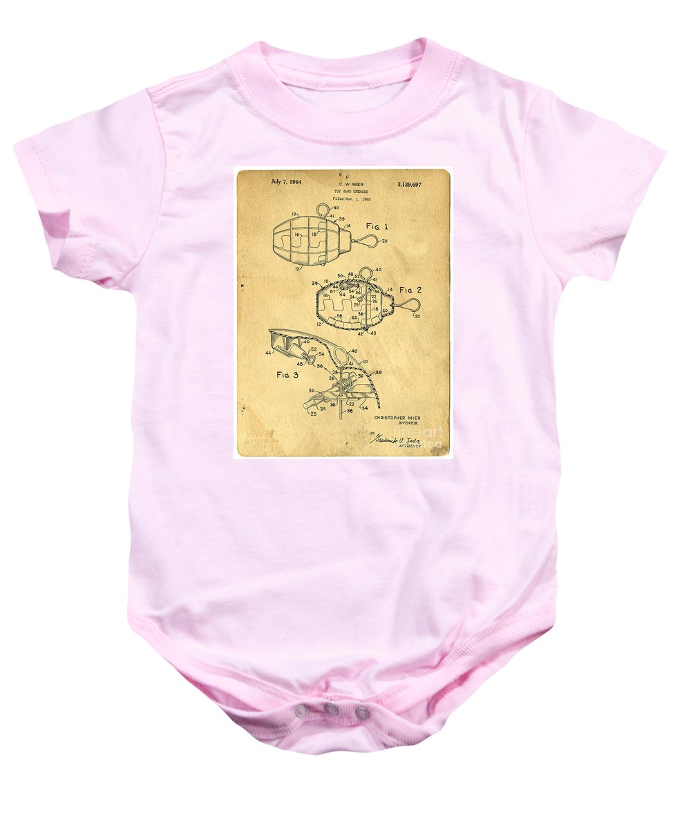Toy Baby Onesie featuring the photograph 1960s Toy Hand Grenade by Edward Fielding