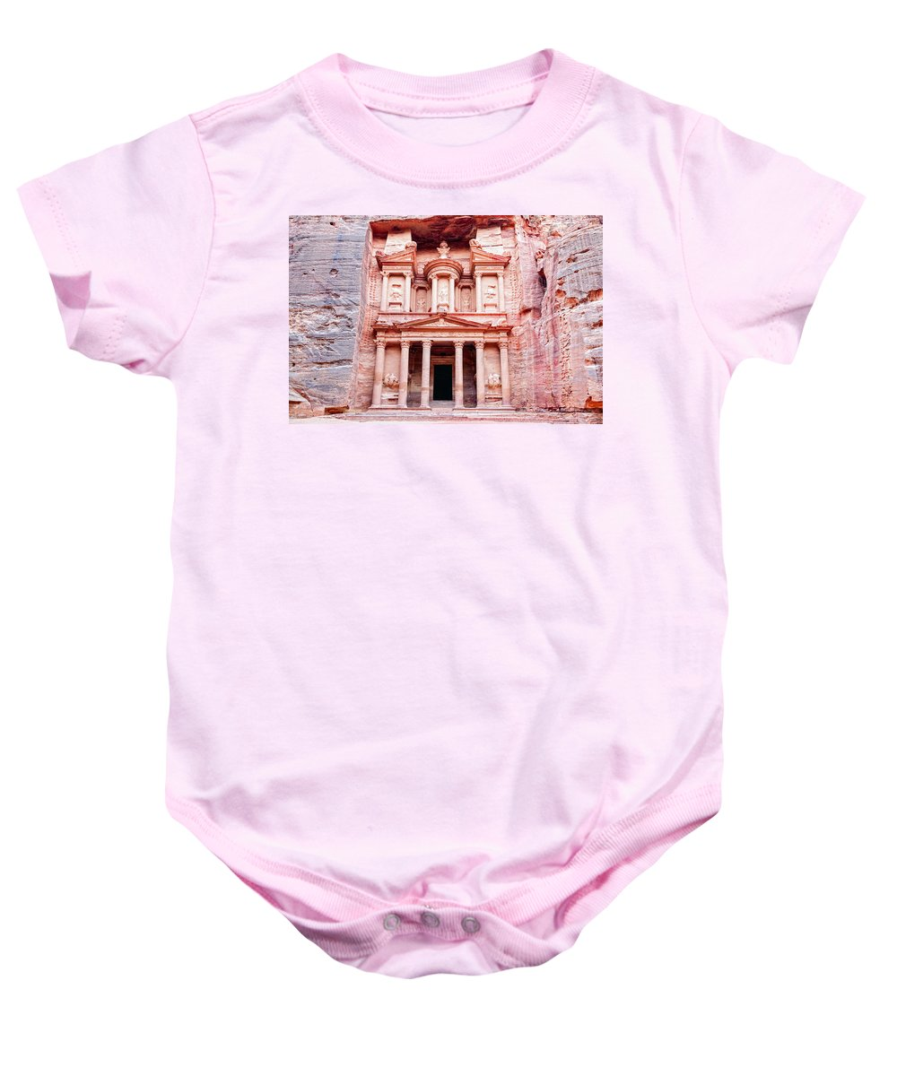 Petra Baby Onesie featuring the photograph Al Khazneh by Alexey Stiop