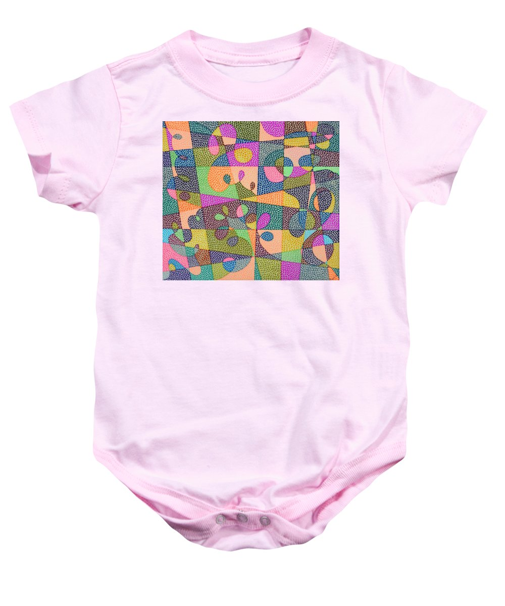 Abstract Baby Onesie featuring the painting In The Loop by Kruti Shah