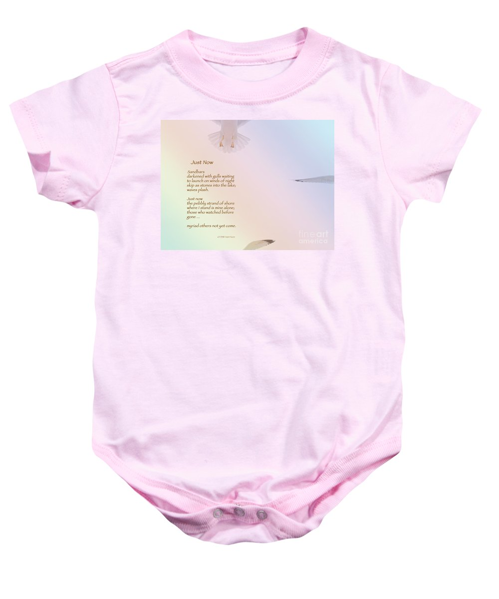 Seagull Baby Onesie featuring the photograph Just Now by Ann Horn
