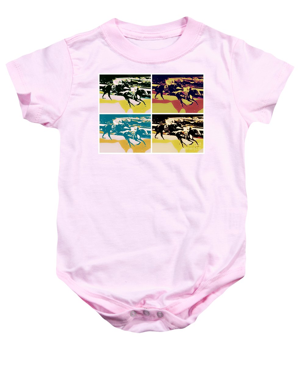 I'll Have Another Horse Racing Bodemeister 2012 Churchill Downs Santa Anita Furlongs I'll Have Another Digital Art Baby Onesie featuring the photograph Kentucky Derby by RJ Aguilar