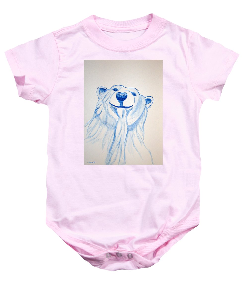 Rick Huotari Baby Onesie featuring the painting Polar Bear by Rick Huotari