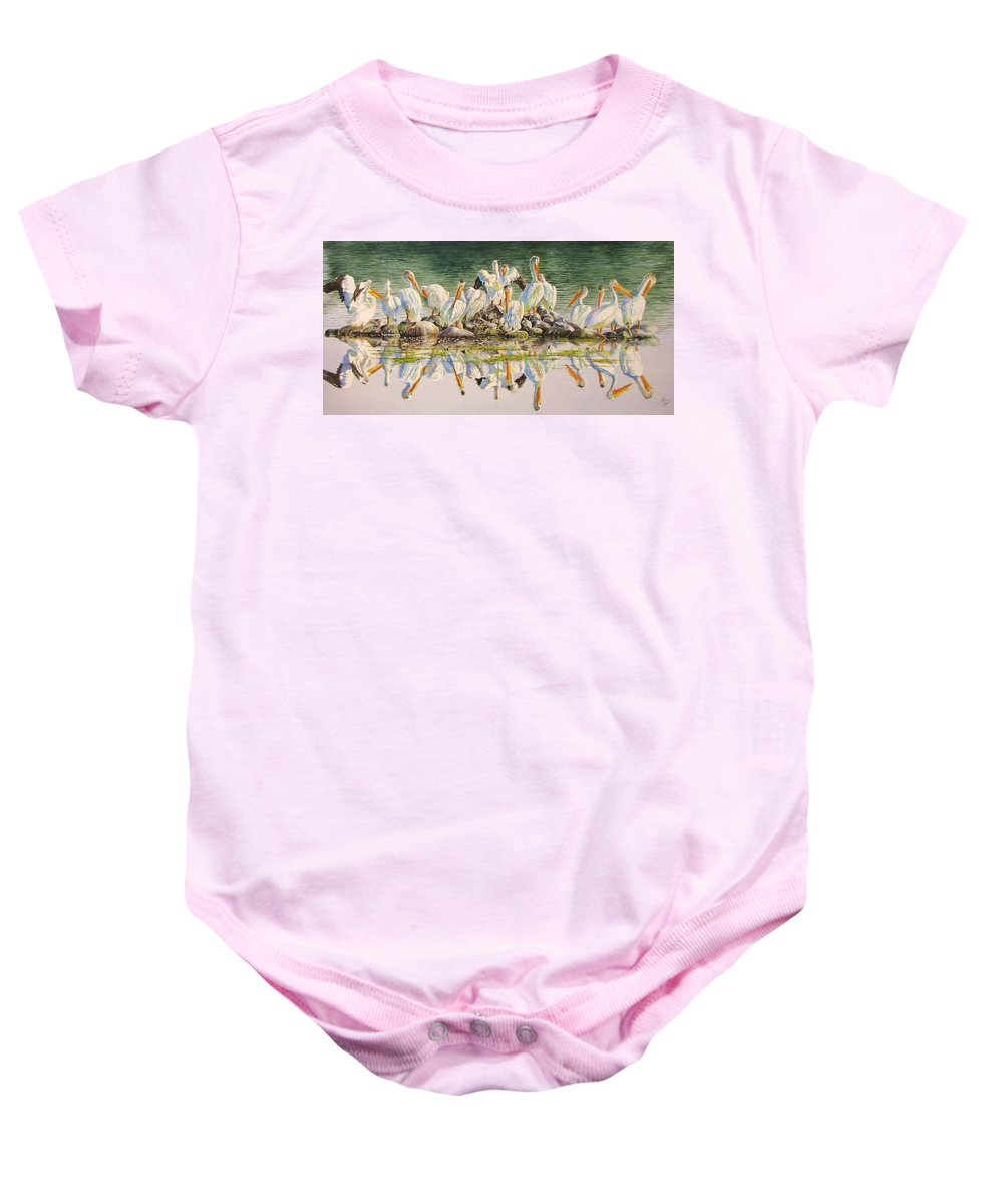 Pelican Baby Onesie featuring the painting Standing Room Only by Greg and Linda Halom