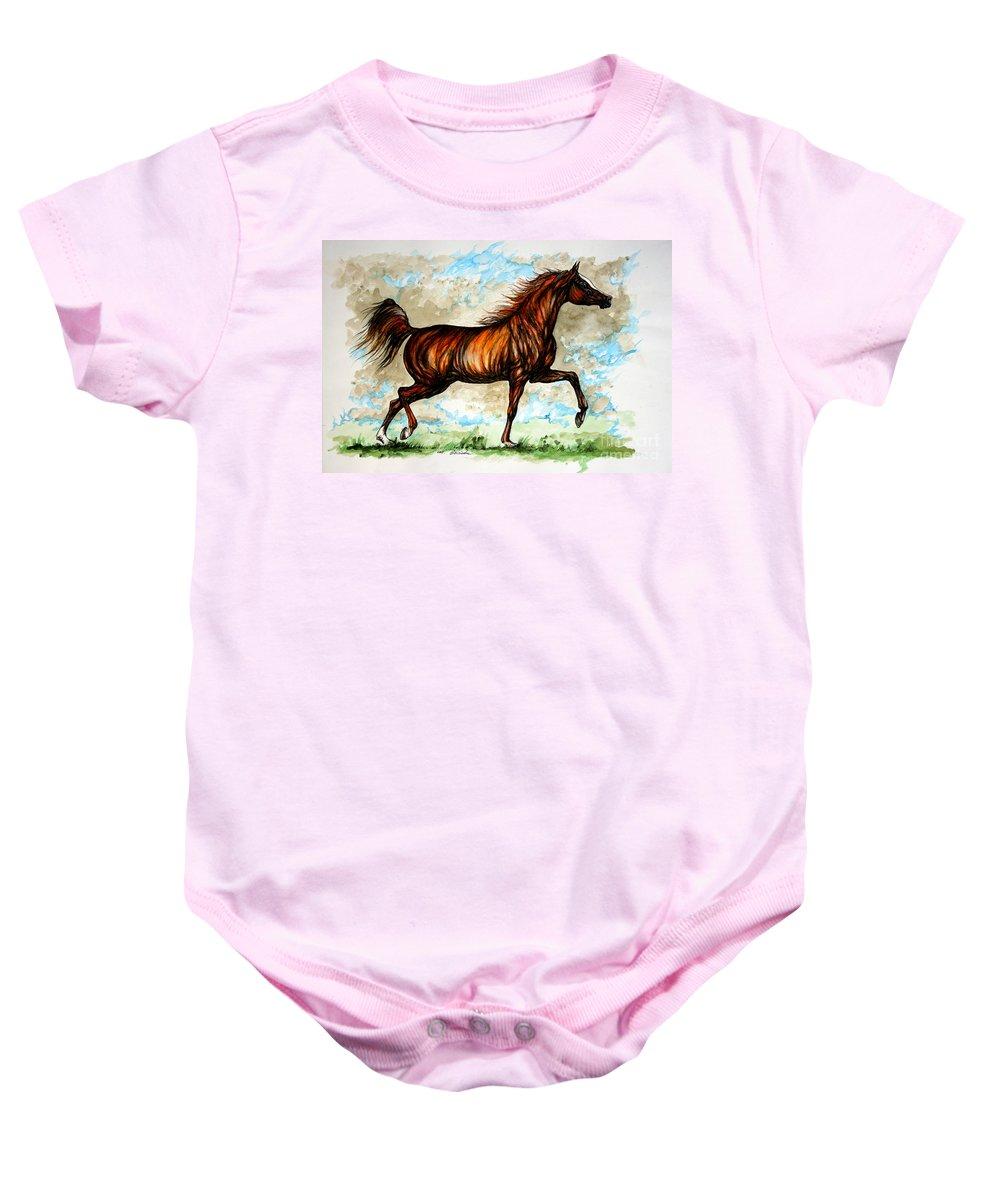 Horse Baby Onesie featuring the painting The Chestnut Arabian Horse by Angel Ciesniarska