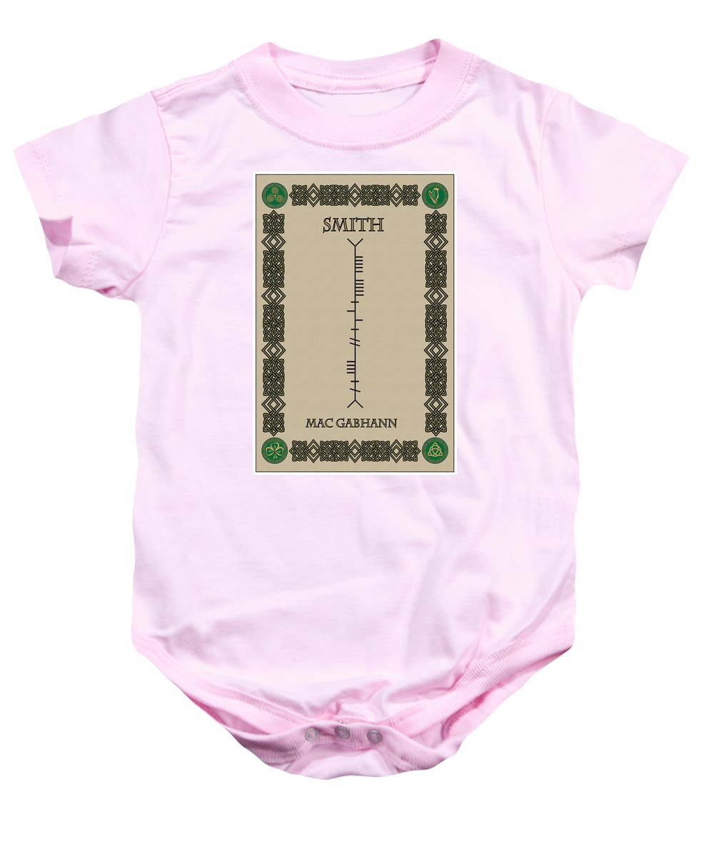 Smith Baby Onesie featuring the digital art Smith Written In Ogham by Ireland Calling