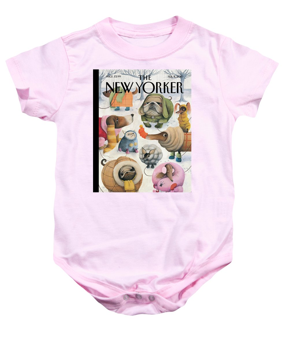 Baby It's Cold Outside Baby Onesie featuring the painting Baby, Its Cold Outside by Ana Juan